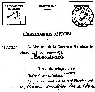 Télégramme de mobilisation
